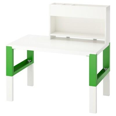 PÅHL Arbejdsbord med tilbygningsdel, hvid/grøn, 96x58 cm