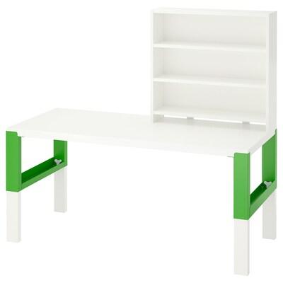 PÅHL Skrivebord med hylde, hvid/grøn, 128x58 cm