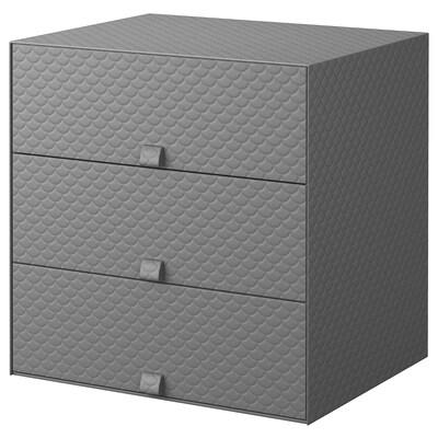PALLRA Minikommode 3 skuffer, mørkegrå, 31x26x31 cm