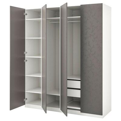 PAX Garderobeskab, hvid/Flornes mørkegrå, 200x60x236 cm