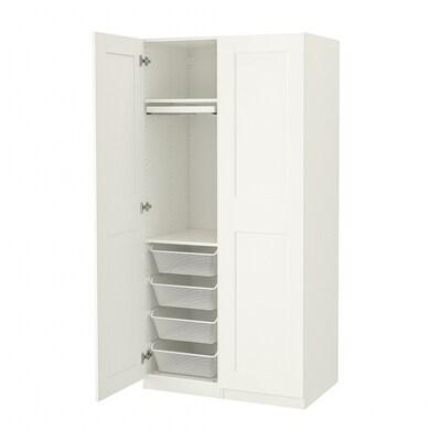 PAX / GRIMO Garderobekombination, hvid/hvid, 100x60x201 cm