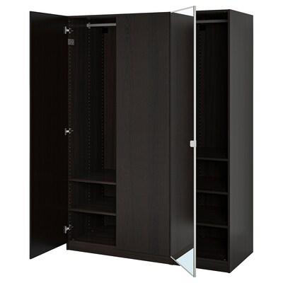 PAX / REPVÅG/VIKEDAL Garderobekombination, sortbrun/spejl, 150x60x201 cm