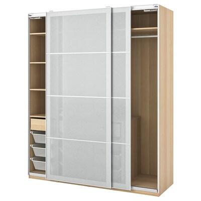 PAX / SVARTISDAL Garderobekombination, egetræsmønster med hvid bejdse/hvid papirmønster, 200x66x236 cm