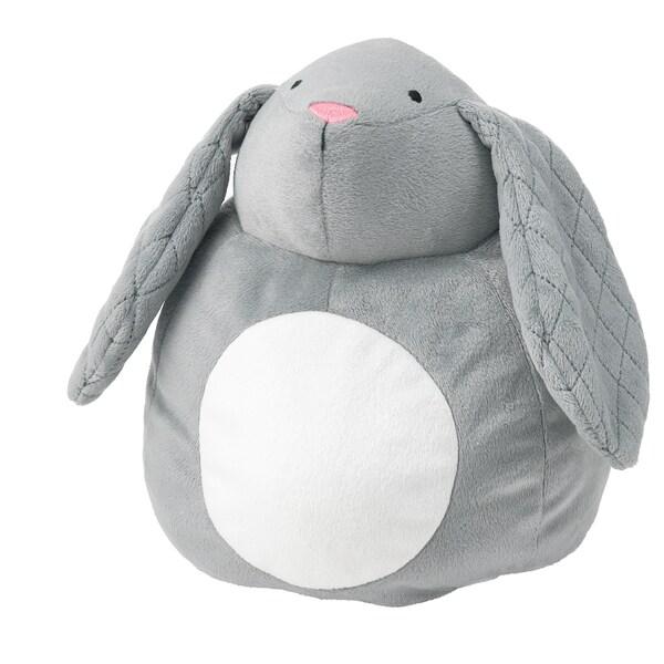 PEKHULT Tøjdyr med LED-natlampe, grå kanin/batteridrevet, 19 cm
