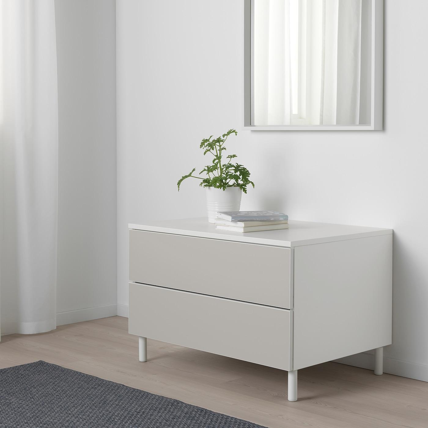 Picture of: Platsa Kommode 2 Skuffer Hvid Skatval Lysegra Ikea