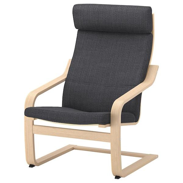 POÄNG Lænestol, egetræsfiner med hvid bejdse/Hillared antracit