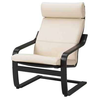POÄNG Lænestol, sortbrun/Glose æggeskalsfarvet