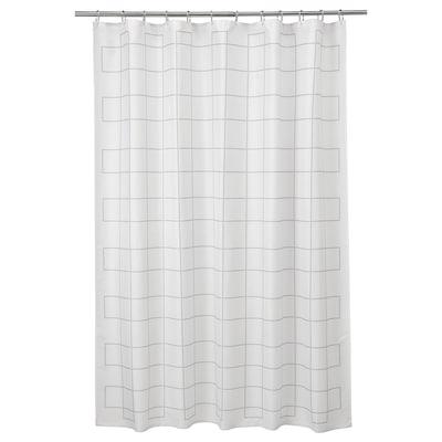 RÄLLSJÖN Badeforhæng, hvid/grå, 180x200 cm