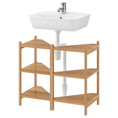 RÅGRUND / TYNGEN Hjørnehylde til vask, bambus/PILKÅN blandingsbatteri