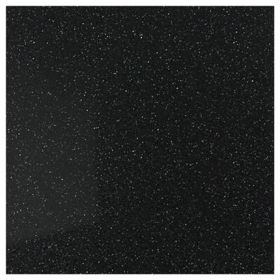 RÅHULT Vægplade efter mål, sort med mineral-/glimmermønster/kvarts, 1 m²x1.2 cm