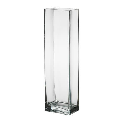 REKTANGEL Vase , klart glas Længde: 18 cm Bredde: 12 cm Højde: 65 cm