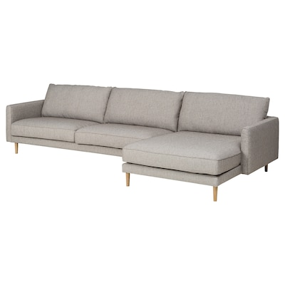 RINGSTORP 4-pers. sofa, med chaiselong/grå/beige natur