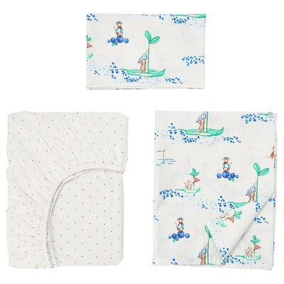 RÖDHAKE Sengetøj til tremmeseng, 3 dele, sejlende mus, 60x120 cm
