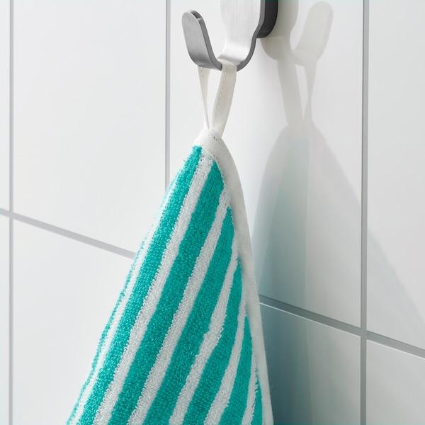 RÖRANDE Håndklæde med hætte, stribet/grøn, 80x80 cm