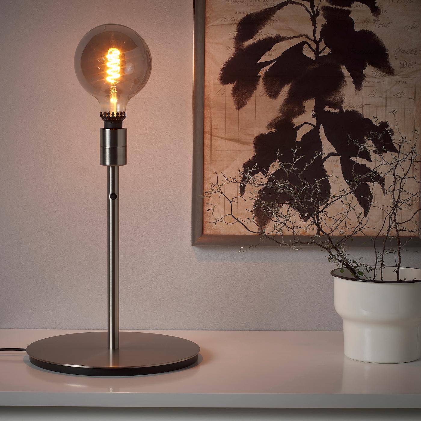 ROLLSBO SKAFTET Bordlampe med pære globe gråt klart glas, forniklet 200 lm 125 mm