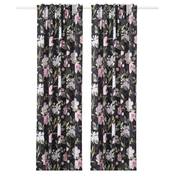 ROSENMOTT mørklægningsgardiner, 2 stk. sort/blomstermønstret 250 cm 145 cm 1.96 kg 3.63 m² 2 stk
