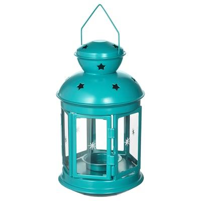 ROTERA lanterne indendørs/udendørs turkis 21 cm