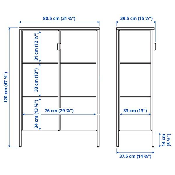 RUDSTA / VAXMYRA Vitrineskab med belysning, antracit, 80x37x120 cm