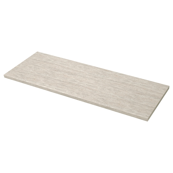 SÄLJAN Bordplade, beige stenmønstret/laminat, 246x3.8 cm