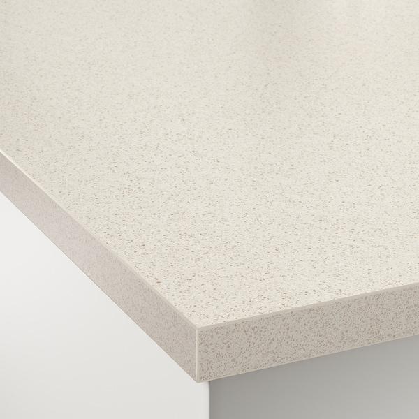 SÄLJAN Bordplade efter mål, hvid stenmønstret/laminat, 45.1-63.5x3.8 cm