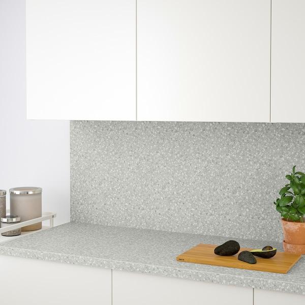 SÄLJAN Bordplade, lysegrå mineralmønster/laminat, 186x3.8 cm