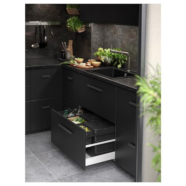 SÄLJAN Bordplade, sort marmormønstret/laminat, 246x3.8 cm