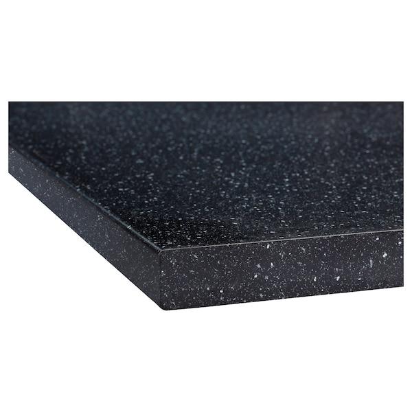 SÄLJAN Bordplade, sort mineralmønster/laminat, 246x3.8 cm
