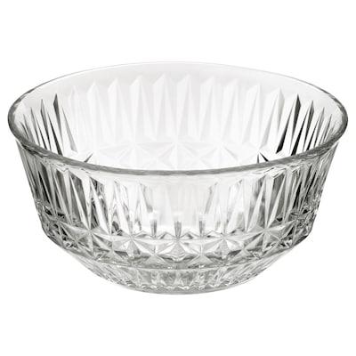 SÄLLSKAPLIG Skål, klart glas/mønstret, 15 cm