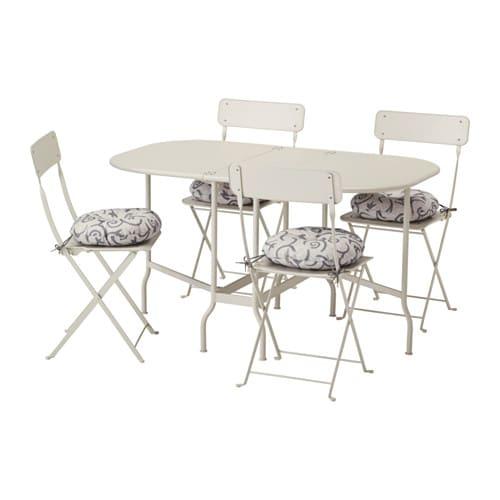 SALTHOLMEN Bord og 4 klapstole, udendørs - Saltholmen beige/Stegön beige - IKEA