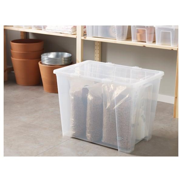 SAMLA Boks med låg, transparent, 57x39x42 cm/65 l