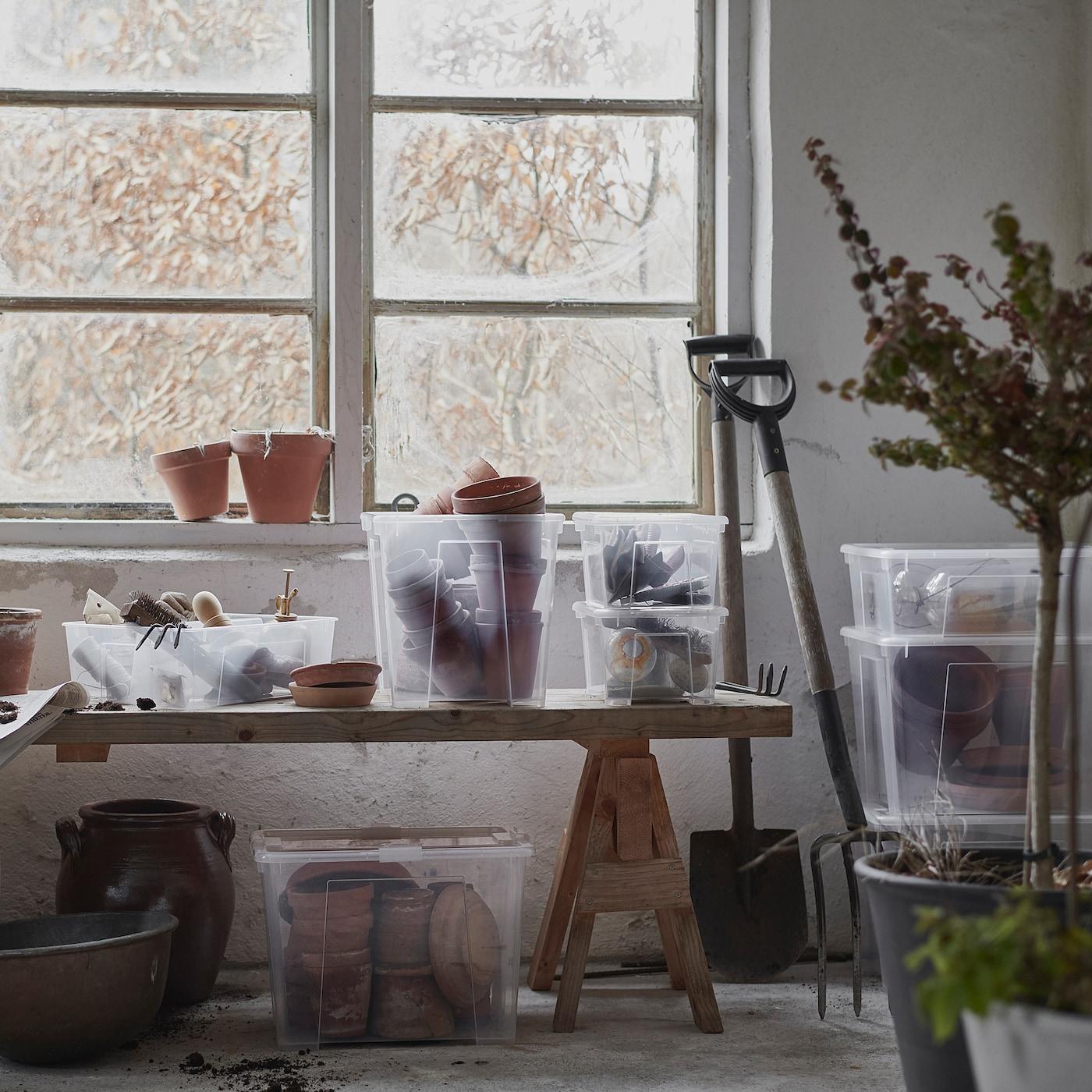 Picture of: Samla Boks Med Lag Transparent 57x39x28 Cm 45 L Ikea
