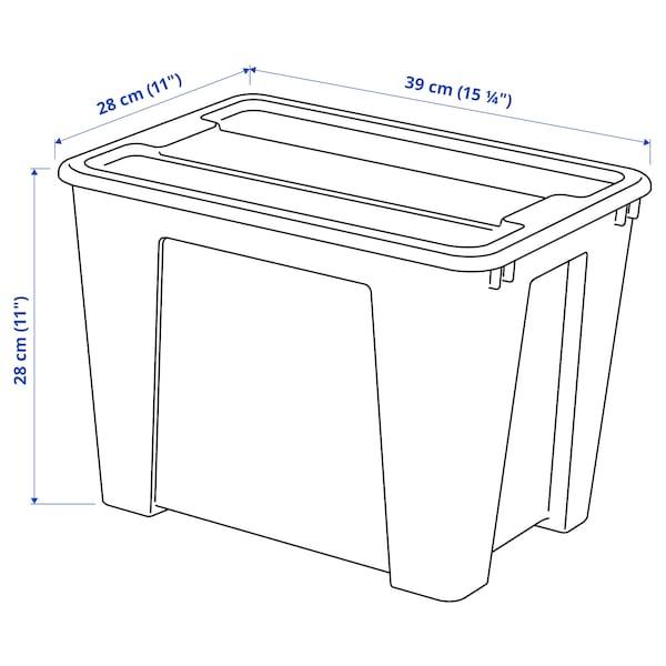 SAMLA Boks med låg, transparent, 39x28x28 cm/22 l