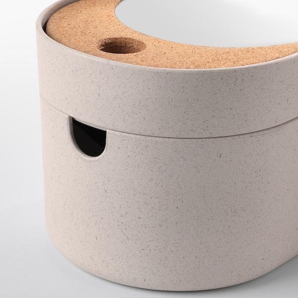 SAXBORGA opbevaringsboks med spejllåg plast kork 24 cm 17 cm 14 cm