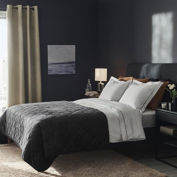 SILVERTISTEL Dynebetræk og pudebetræk, hvid/mørkegrå, 140x200/60x70 cm