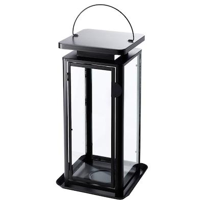 SINNESRO lanterne bloklys, inde/ude grå 24 cm 45 cm