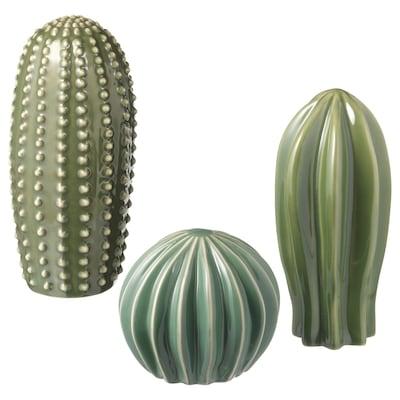 SJÄLSLIGT Dekoration, sæt med 3, grøn