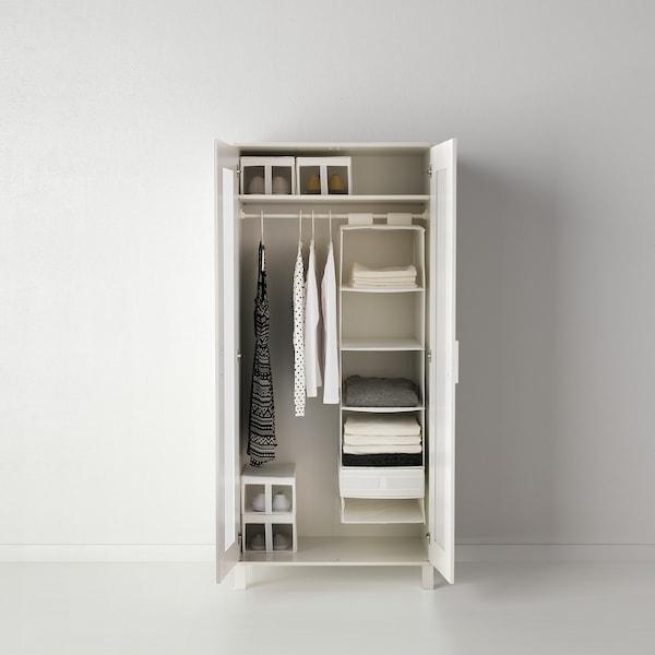 SKUBB Boks med rum, hvid, 44x34x11 cm