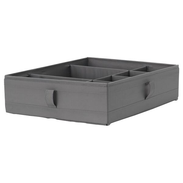 SKUBB Boks med rum, mørkegrå, 44x34x11 cm