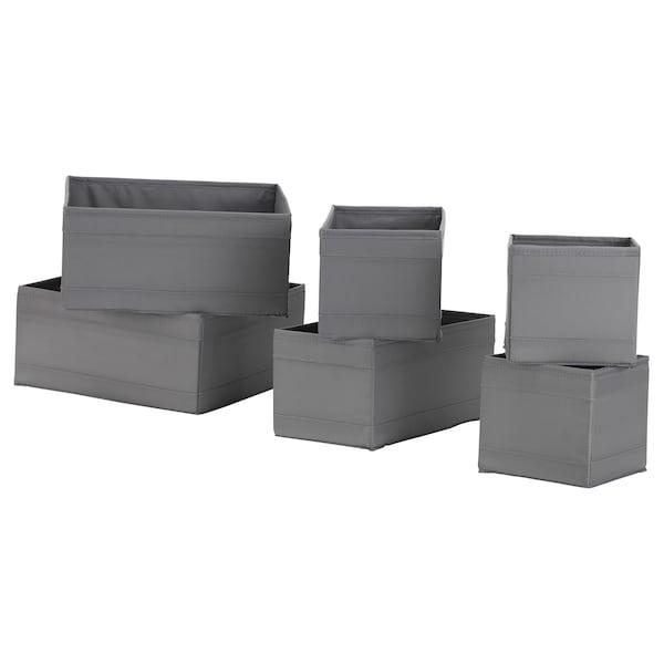 SKUBB Kasser, 6 stk., mørkegrå