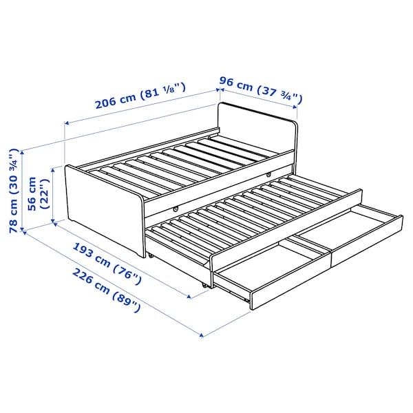 SLÄKT Sengestel med underseng/opbevaring, hvid, 90x200 cm