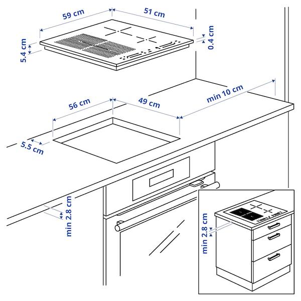 SMAKLIG Induktionskogeplade, IKEA 500 sort, 59 cm