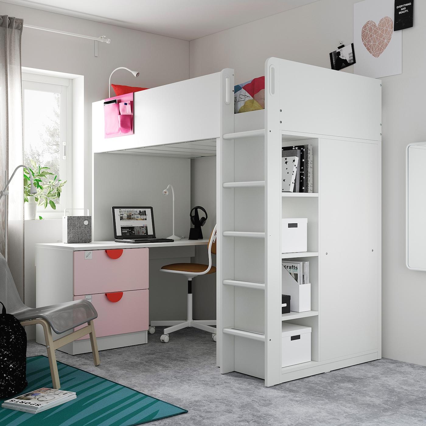 Picture of: Smastad Hojseng Hvid Lys Pink Med Skrivebord Med 3 Skuffer Ikea