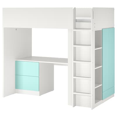 SMÅSTAD Højseng, hvid lys turkis/med skrivebord med 3 skuffer, 90x200 cm