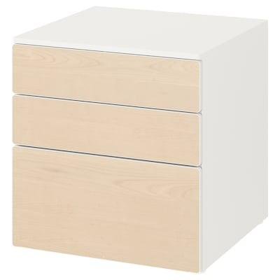 SMÅSTAD / PLATSA Kommode 3 skuffer, hvid/birk, 60x57x63 cm