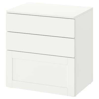 SMÅSTAD / PLATSA Kommode 3 skuffer, hvid hvid/med ramme, 60x42x63 cm