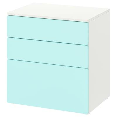 SMÅSTAD / PLATSA Kommode 3 skuffer, hvid/lys turkis, 60x42x63 cm