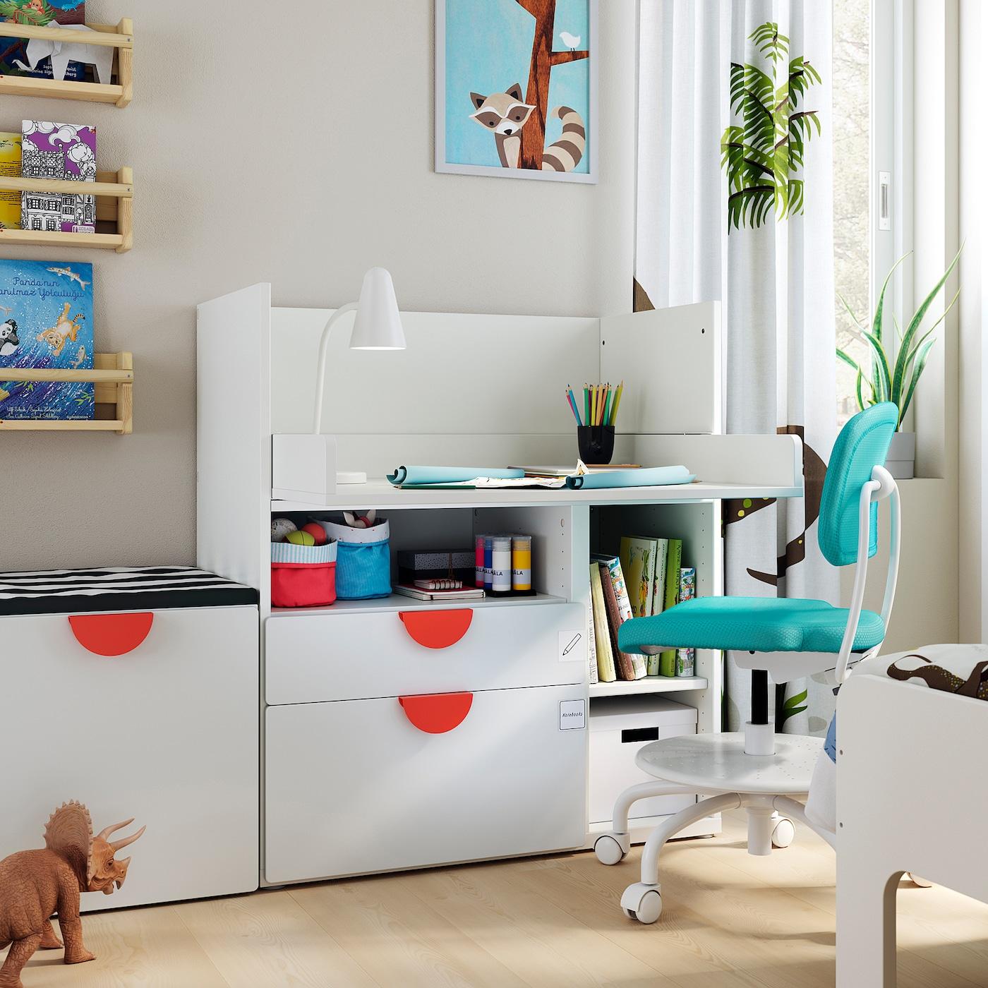 Picture of: Smastad Skrivebord Hvid Hvid Med 2 Skuffer Ikea