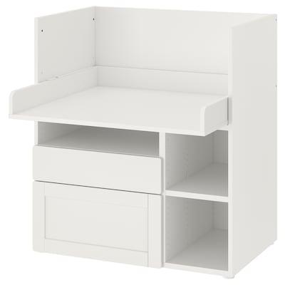SMÅSTAD Skrivebord, hvid med ramme/med 2 skuffer, 90x79x100 cm