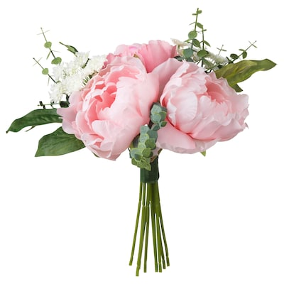 SMYCKA Kunstig buket, pink, 25 cm