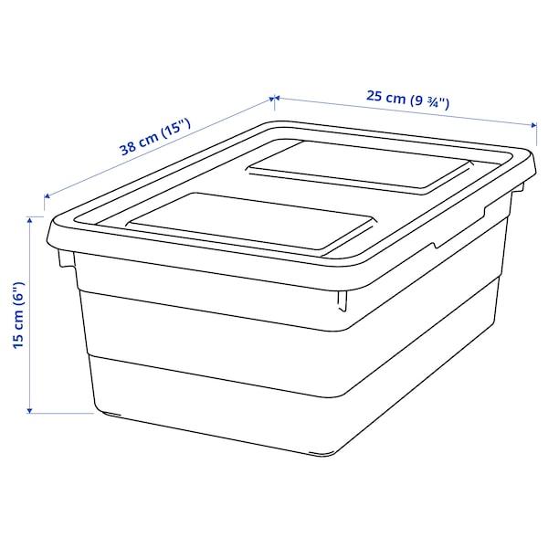 SOCKERBIT Boks med låg, hvid, 38x25x15 cm